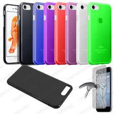 Funda carcasa + CRISTAL TEMPLADO para iPhone 8 Silicona Gel TPU Mate Colores
