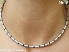 Edelstahl Halskette Collier Silber Granat Edelstein rot kurz lange Damen Herren