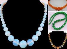 "Hot Sale 6-14mm Genuine Gemstones Round Beads Jewelry Necklace 18"""