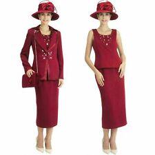 Sunday Best Women's Church Dress Suit Burgundy Soft Crepe Fabric all sizes 10-22