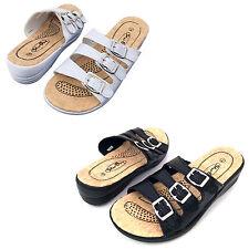 Women's Slides Sandals Adjustable Buckle Comfort Slip On Wedge Flip Flops, Sizes