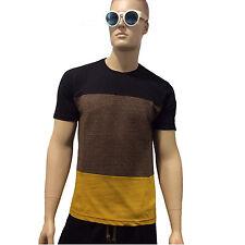 DIEGO RODRIGUEZ T-Shirt Spezzata Art. LSSPE01 Colore Nero-Marrone- Made in Italy