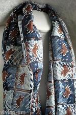 100% Seta Foulard di 180 x 50 BLU sciarpa stola Tuch NUOVO + TOP A37