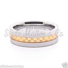 Tungsten Carbide Ring Men's Wedding Band Gold Steel Inlaid Size 7-13