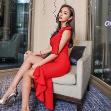 Élégant vestido traje corto de tubo rojo cómodo rodilla slim ajustado 3263