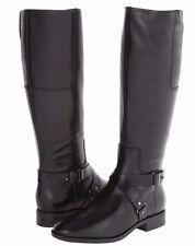 Nine West Blogger Black Leather Side Zip Riding Boots w/Strap Detail, 7M - $179