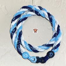 Phiten Titanium Triple Twist Necklace: New Navy/Carolina Blue/White Custom