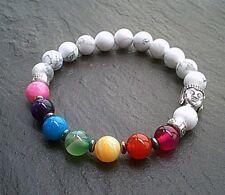 Natural Healing Gemstone Howlite Beaded Chakra Bracelet Buddha Jewellery UK