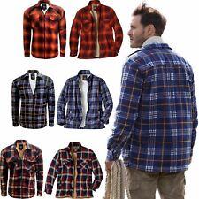 Mens Sherpa Fleece Lined Padded Shirt Lumberjack Work Flannel Jacket Warm S-5XL