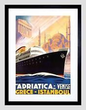 I VIAGGI DELLA NAVE DA CROCIERA ADRIATICO VENEZIA Grecia Istanbul Vintage Incorniciato Stampa b12x1692