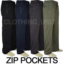 T4 Semi Elasticated Waist Action Combat Cargo Walking Work Trousers 9 Pockets