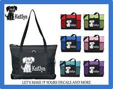 PUPPY DOG W/ NAME CUSTOM TOTE BAG PURSE SCHOOL TRAVEL SPORTS OVERNIGHT BAG