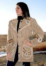 Womens Beige Genuine Suede Leather Jacket Native Fringes & Beads Western Wear
