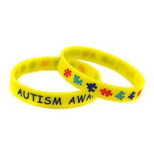X2 Yellow 'AUTISM AWARENESS' Medical Wristbands Alert Silicone Wristband UK
