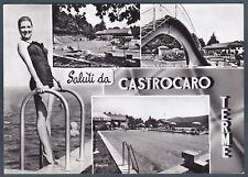 FORLÌ CASTROCARO TERME 03 SALUTI da... MODA - PISCINA Cartolina FOTOGRAFICA