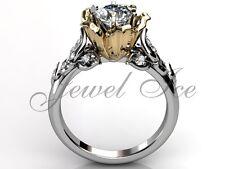 White and Yellow Gold Forever One Moissanite Flower Engagement Ring ERMZ-1033-4