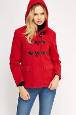 Women's New anorak manteau veste polaire capuche Duffel Zip Toggle Bouton Poche à rabat