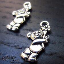Teddy Bear Flower Wholesale Silver Plated Charm Pendants C1690 - 10, 20 Or 50PCs