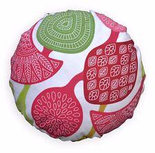 LL414n White Apple Green Pink Fushcia Red Cotton Canvas Round Shape Cushion Case