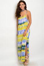 Women's TIMING Yellow and Green Tye Dye Maxi Dress