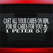 1 Peter 5:7 Cast all Christian Car Decal Truck Window Vinyl Sticker (20 COLORS!)