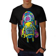 Wellcoda Robo Life Retro Geek Mens T-shirt, Robo Graphic Design Printed Tee