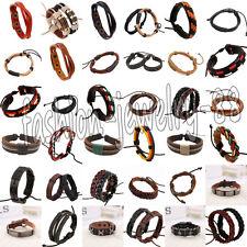 Unisex's Braided Colorful Leather Infinity Charm Bracelet Men Wristband Bangle