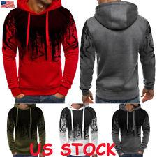Men's Warm Hoodie Fleece Tops Hooded Jacket Casual Sweatshirt Gym Pullover Coat
