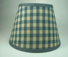 Country Waverly Delft Blue Tan Check Mate Fabric Lampshade Lamp Shade