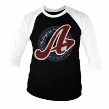 Ufficiale Uomo Marvel Avengers Logo Varsity Baseball Manica 3/4 T-SHIRT SWEATER