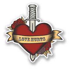 2 x 10cm Love Hurts Heart & Dagger Vinyl Decal Sticker Laptop Tattoo Style #5976