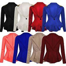 New Womens Spikes Studded Crop Peplum Frill Blazer Single Button Jackets 8-24