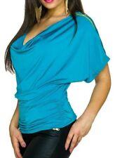 Sexy Miss Damen Wasserfall Ausschnitt Shirt Zipper Arm Top 34/36/38 blau NEU