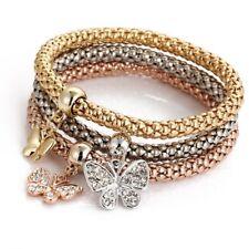 Elastic 3Pcs Women Multilayer Crystal Butterfly Crown Bracelets Bangles Jewelry