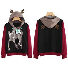 Womens Elk  Hoodie Hooded Jumper Xmas Pullover Sweater Sweatshirt Christmas Tops