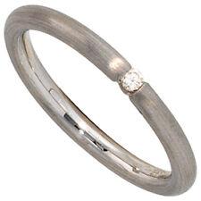 Ring Damenring mit Diamant Brillant, 925 Silber rhodiniert mattiert, Silberring
