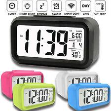 Digital Sensor Automatic Soft Light Snooze Desk Alarm Clock Date Temperature