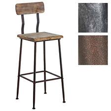Tabouret de bar QUEENS bois métal atelier pub cuisine salle à manger loft neuf