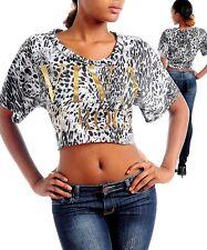 Women's Blouse crop Top Shirt leopard VIVA LE ROCK dolman Sleeve S M L