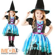 Moonlight Witch + Tights  Girls Fancy Dress Spooky Wicked Halloween Kids Costume