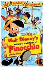 VINTAGE Disney PINOCCHIO FILM POSTER A3/A2/A1 stampa