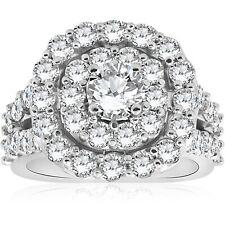 Large 4 CT Real Diamond Cushion Double Halo Engagement Ring 10k White Gold