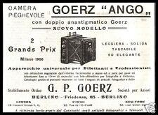 PUBBLICITA' 1908 GOERZ ANGO CAMERA PIEGHEVOLE MACCHINA FOTOGRAFICA SOFFIETTO