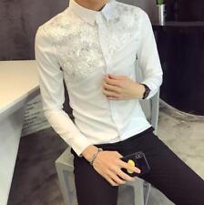 Mens Trendy Sequins Floral Slim Party Shirt Long Sleeve Nightclub Shirt Tops #cn