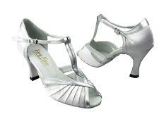 2707 Silver Black Salsa Ballroom Latin Leather Dance Shoes 2.5