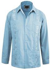 Guayabera Men's Beach Wedding Long Sleeve Button-up Cuban Shirt Lightblue