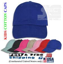 Kids Cotton Caps Washed Low Profile Plain Baseball Dad Cap Hat