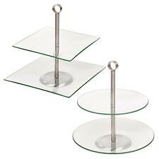 2 Tiered Glass Cake Stand Pastry Pie Cupcake Wedding Tea Platform Plates Display