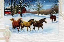 16 Boxed Embossed Christmas Cards Horses Bay Chestnut Horse Arabian Arab