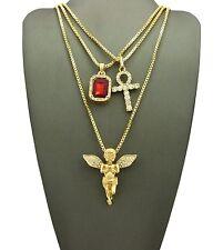 "Micro Angel, Ankh, Gemstone Pendant 24"",30"" Box Hip Hop Chain 3 Necklace Set"